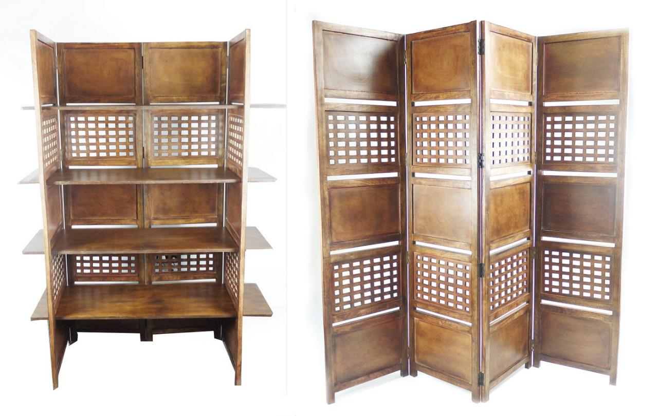 4 Panel Heavy Duty Indian Bookcase Room Divider With 4 Shelves Light Brown