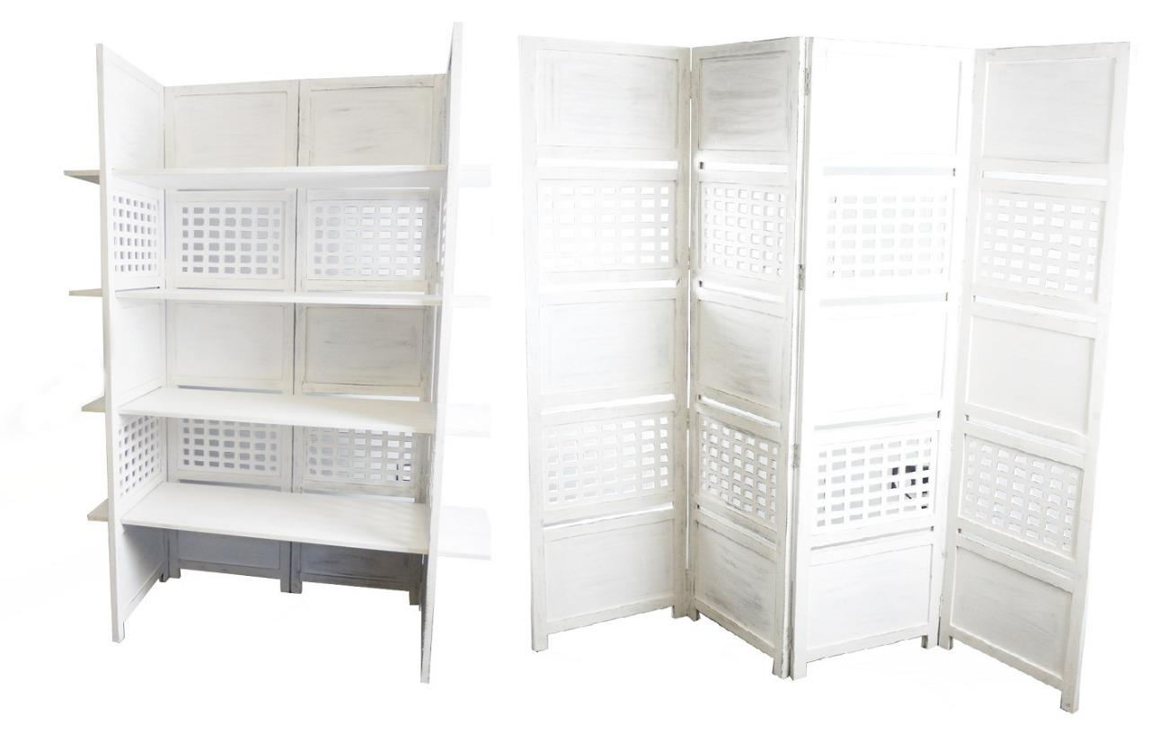4 Panel Heavy Duty Indian Bookcase / Room Divider with 4 Shelves - White