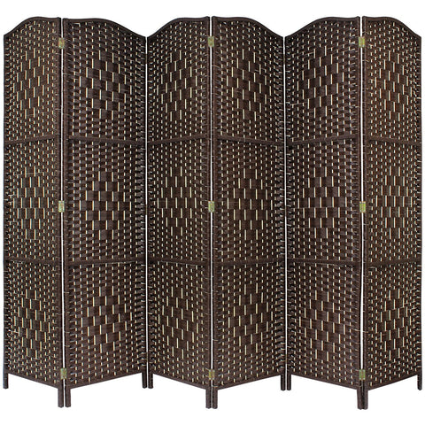 Solid Brown Weave Hand Made Wicker Room Divider - 6 Panel