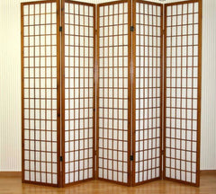 Tobacco Window Shoji Room Divider Screen - 5 Panel