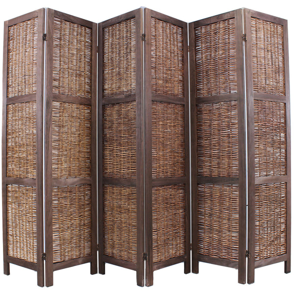 Shabby Chic Wicker Room Divider Screen - 6 Panel - Brown