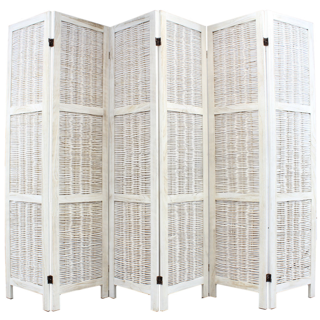 Shabby Chic Wicker Room Divider Screen 6 Panel Cream Room