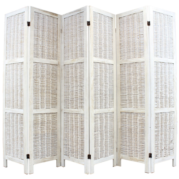 Shabby Chic Wicker Room Divider Screen - 6 Panel - Cream