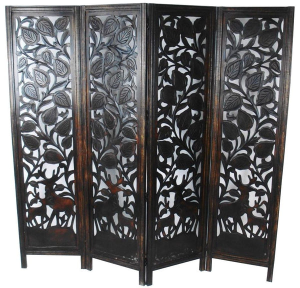 Hand Carved Indian Stag Design Room Divider Screen - Brown