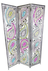 Art Deco Retro Feather Design Metal Room Divider Screen - 3 Panel
