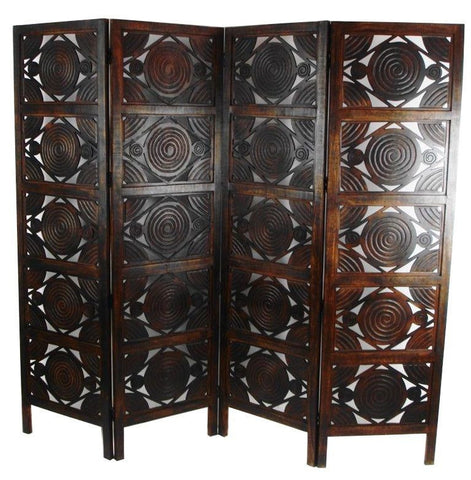 Hand Carved Indian Swirl Design Room Divider Screen - Dark Brown