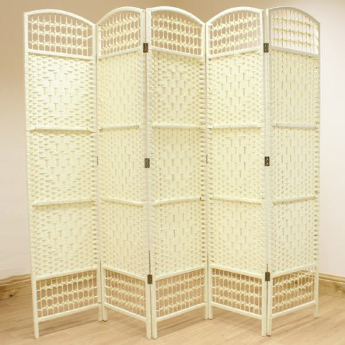 Cream Hand Made Wicker Room Divider Screen - 5 Panel