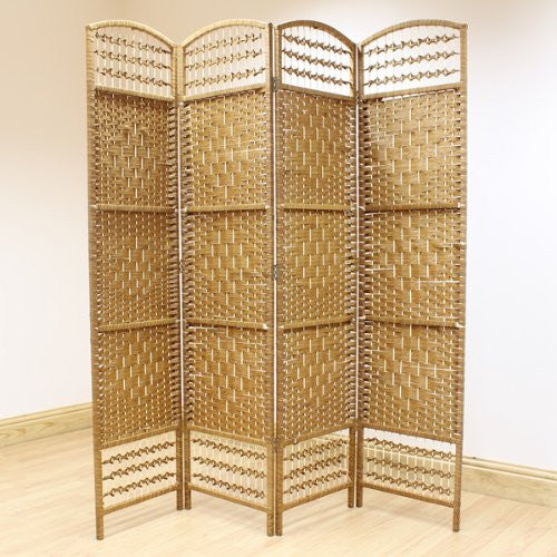 Natural Hand Made Wicker Room Divider Screen - 4 Panel