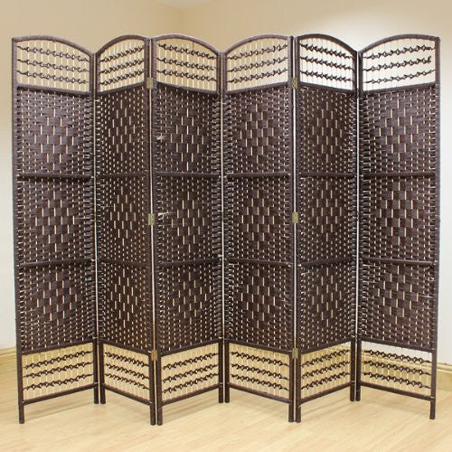 Brown Hand Made Wicker Room Divider - 6 Panel