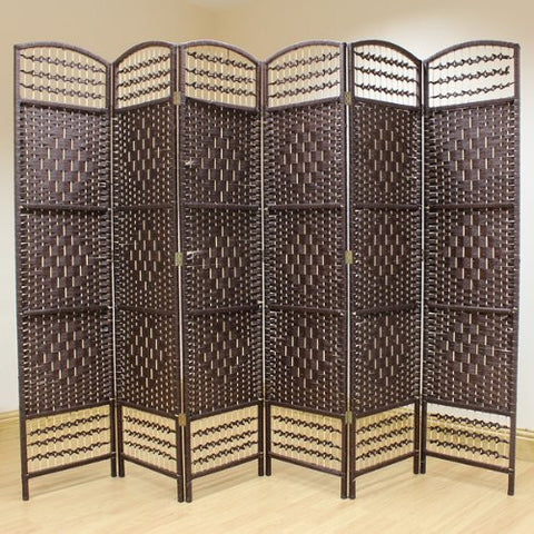 Hand Made Wicker Room Divider - 6 Panel - Brown