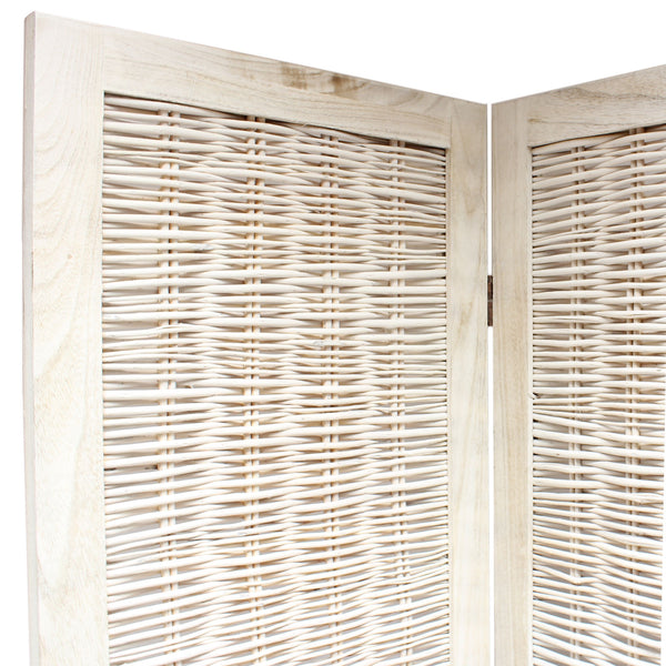 chic wicker room divider screen 6 panel cream room dividers uk