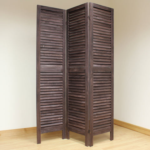Wooden Slat Room Divider Screen - 3 Panel - Brown
