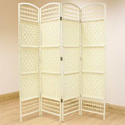 Cream Hand Made Wicker Room Divider Screen - 4 Panel