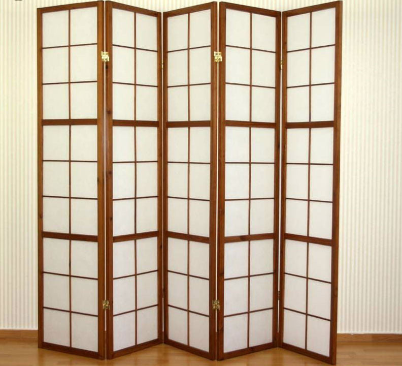 Tobacco Shoji Room Divider Screen - 5 Panel