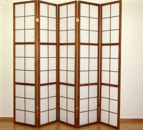 Tobacco Shoji Room Divider Screen 5 Panel Room Dividers UK
