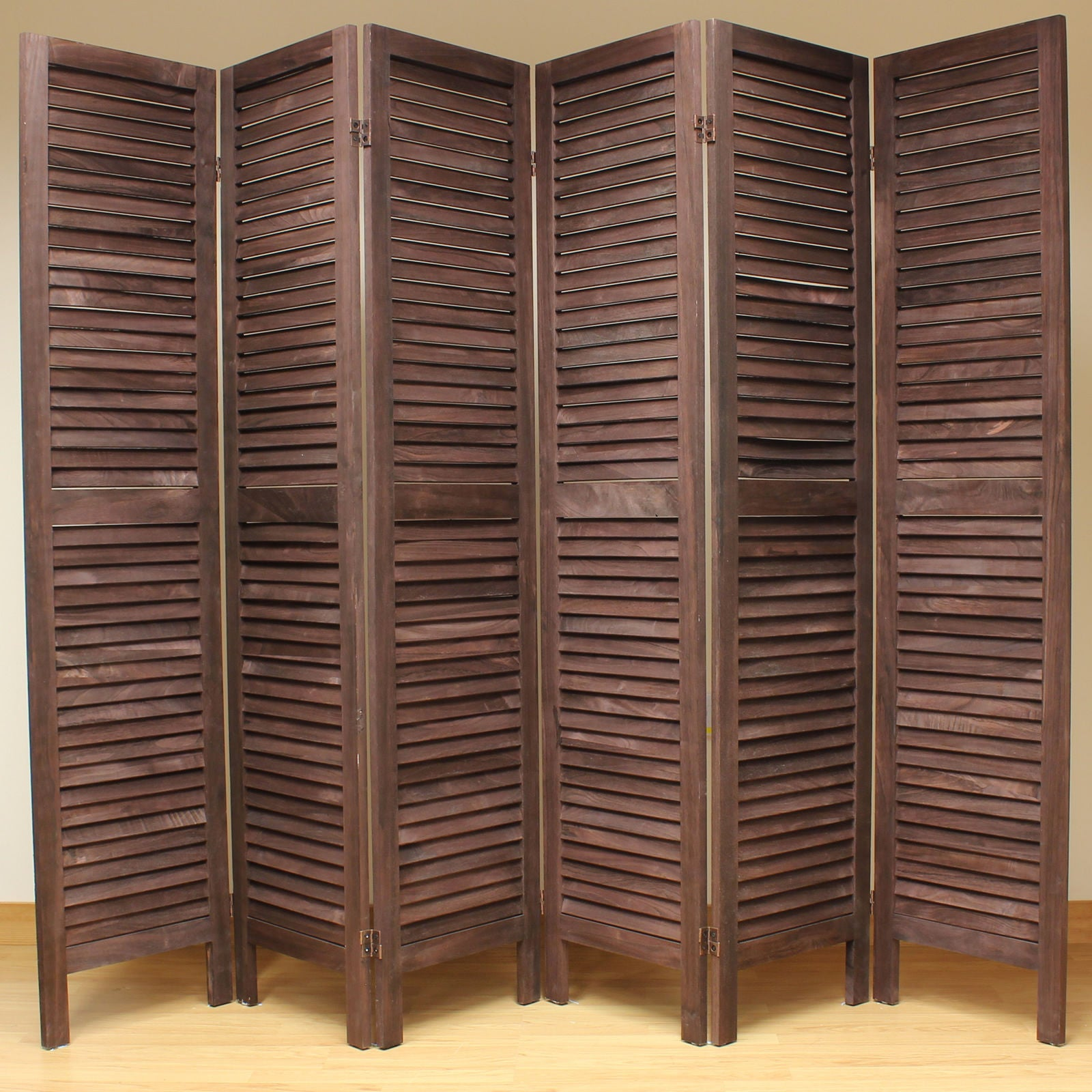 Wooden Slat Room Divider Screen 6 Panel Brown Room