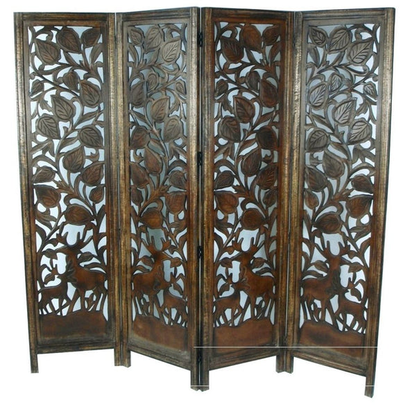Hand Carved Indian Stag Design Room Divider Screen - Light Brown