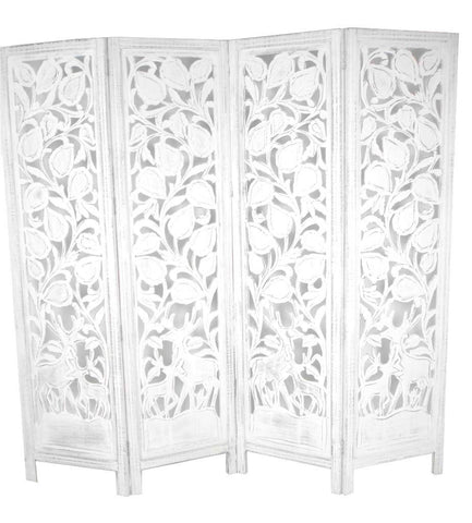 Hand Carved Indian Stag Design Room Divider Screen - White