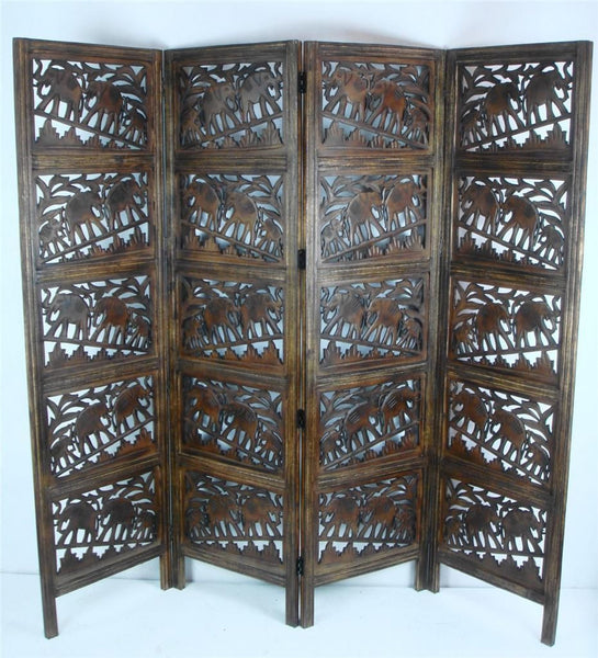 Hand Carved Indian Elephant Room Divider Screen - Light Brown