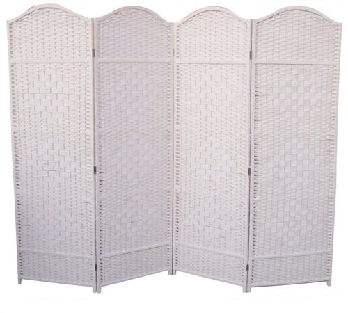Wicker Room Divider Screen - 4 Panel - White