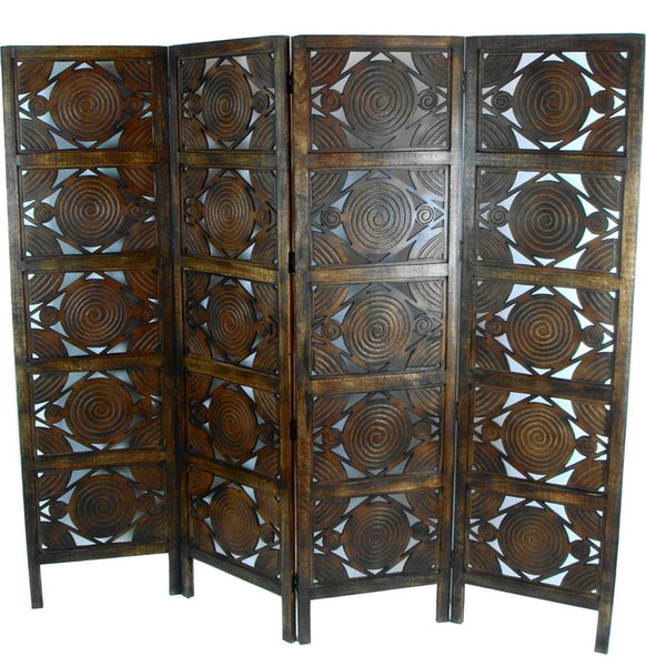 Hand Carved Indian Swirl Design Room Divider Screen - Light Brown