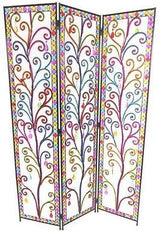 Art Deco Tear Drop Design Metal Room Divider Screen - 3 Panel