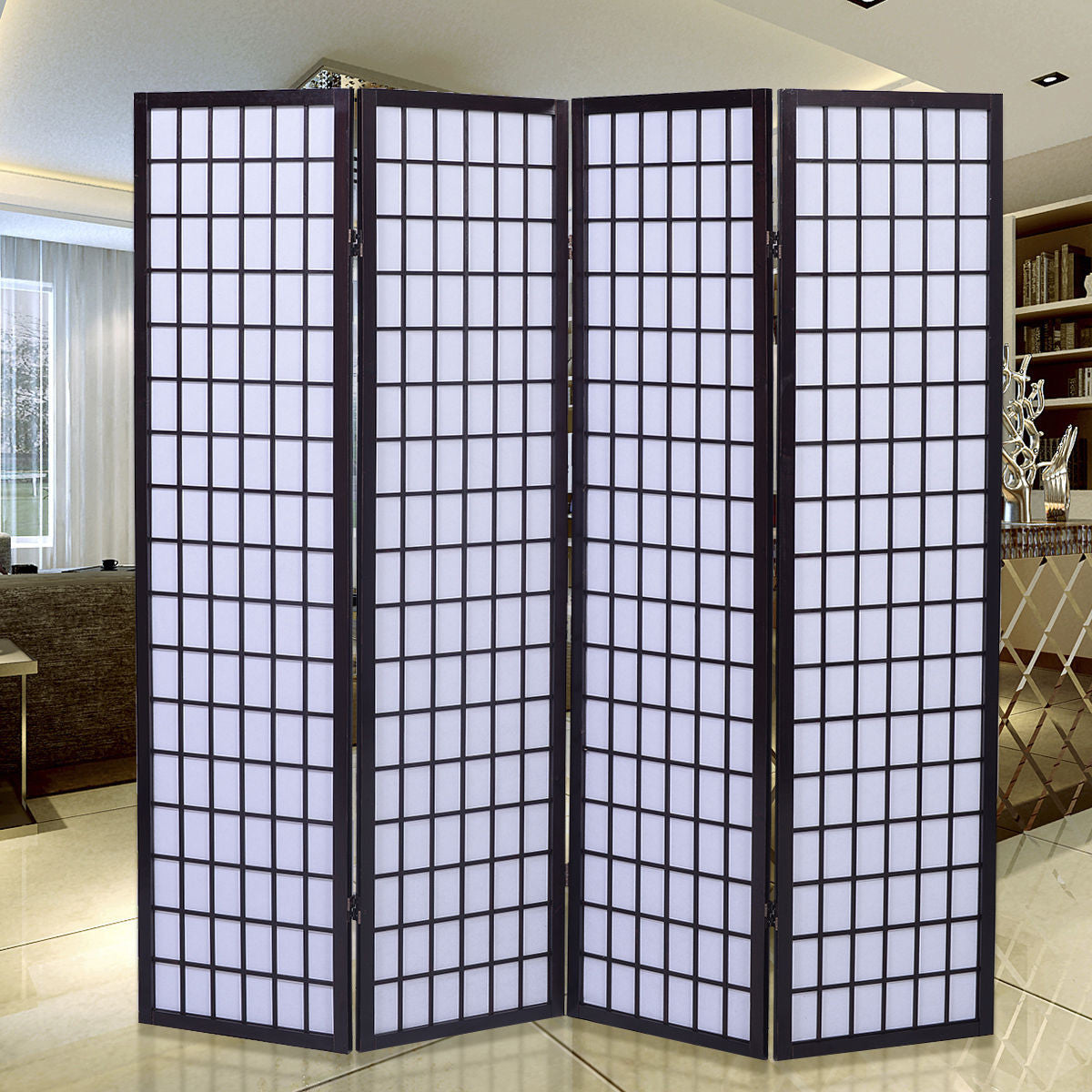 Oriental Shoji Screen - 4 Panel - Black