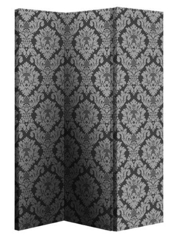 Damask Single Sided Screen - Black and Silver