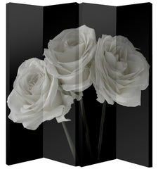 Image of Black & White Rose Room Divider Screen