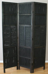Black Bamboo Wooden Room Divider Screen