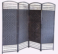Black Wicker Room Divider Screen