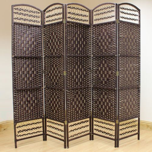 Brown Hand Made Wicker Room Divider Screen - 5 Panel