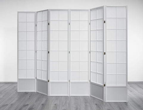 Hoshi Room Divider Screen - White - 6 Panel