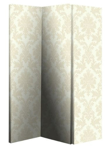 Cream Damask Room Divider Screen
