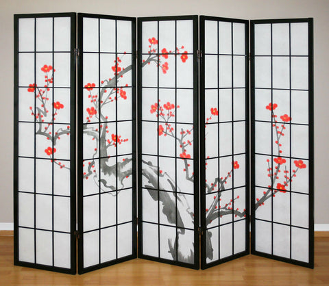 Cherry Tree Shoji Screen - 5 Panel
