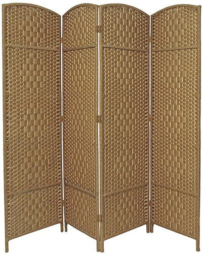 Entwine natural colour handmade 4 panel room divider for Four panel room divider screen