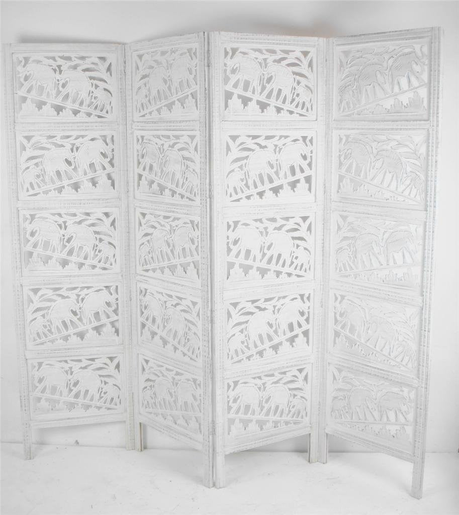 Hand Carved Indian Elephant Room Divider Screen   White