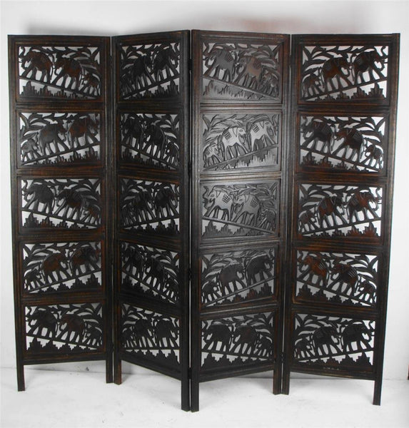 Hand Carved Indian Elephant Room Divider Screen - Dark Brown