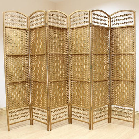 Natural Hand Made Wicker Room Divider Screen - 6 Panel