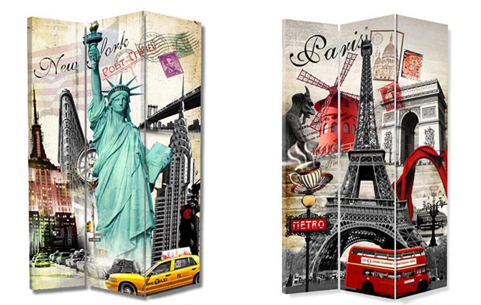 Paris and New York Room Divider Screen