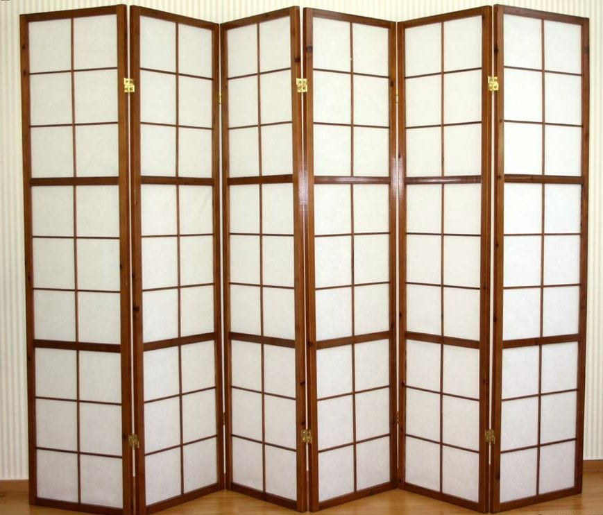 Window Shoji Room Divider Screen Tobacco 6 Panel Room Dividers UK