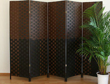 Paravent Wicker Room Divider Screen- Dark Brown - 5 Panel