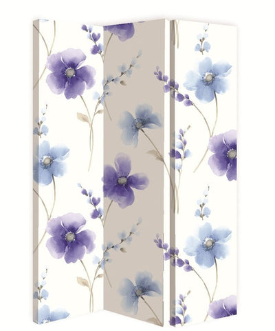 Riviera Blue Floral Room Divider Screen - Double Sided with Stripe