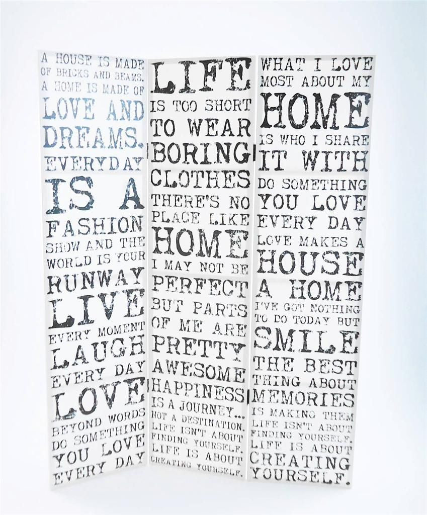 Vintage Quote Room Divider Screen - White