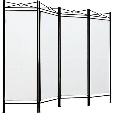 White Four Panel Room Divider Screen
