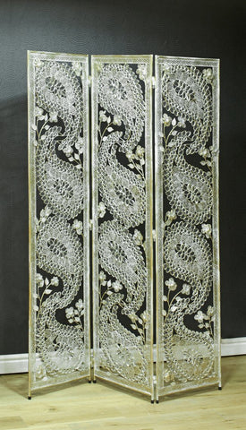 White Paisley Metal Room Divider Screen