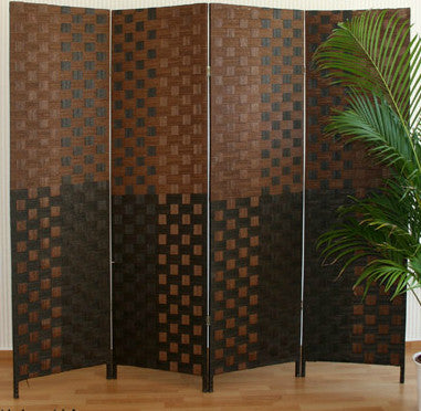 Paravent Wicker Room Divider Screen- Dark Brown - 4 Panel