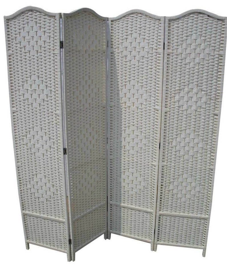 Classical Room Divider Screen - 4 Panel - Cream