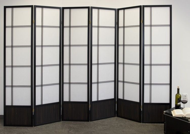 Akio Room Divider Screen - Black - 6 Panel