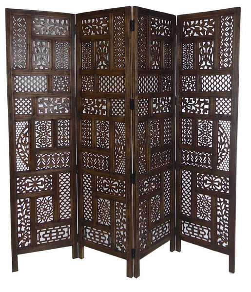 Jali Hand Carved Indian Room Divider Screen Light Brown Room Dividers UK